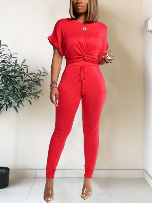Plain Red Twist Front T-Shirt Drawstring Pants Pullover