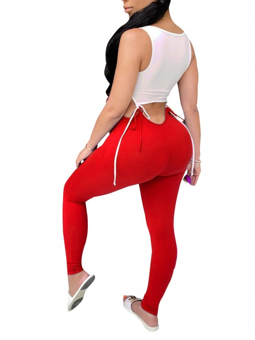 Explicitly Chosen Red Crop Tank Top Full Length Pants Cutout