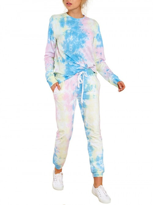 Blue Full Sleeve Tie-Dyed 2 Piece Outfits For Beauty