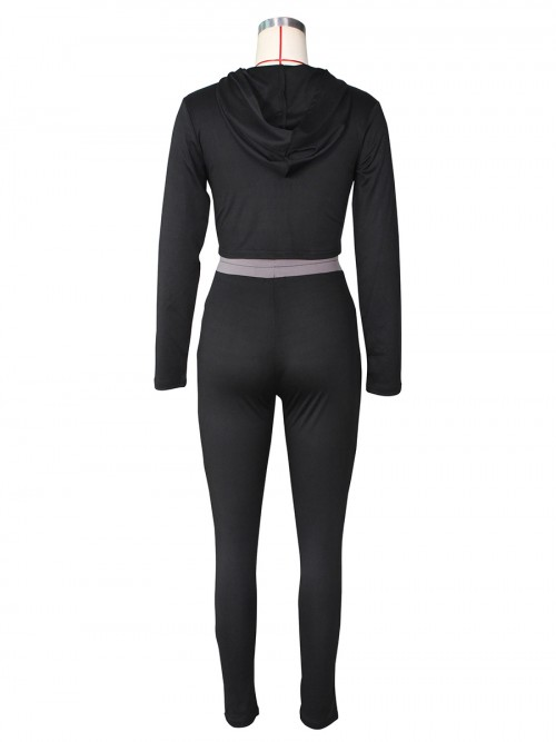 Black Colorblock Hooded Neck 2 Piece Outfit Stretchy