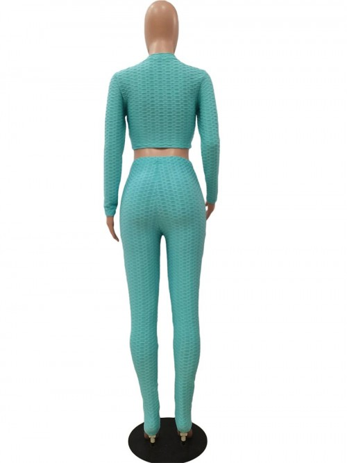 Green High Waist Cropped Sports Suit Jacquard Women's Clothing