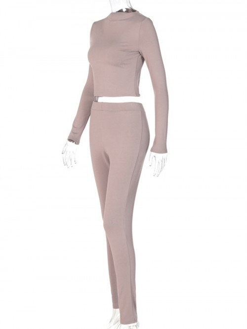 Apricot Solid Color High Waist 2 Pieces Outfits For Female