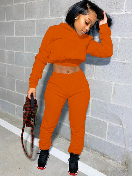 Lace-Up Orange High Waist 2-Piece Outfits Premium Quality