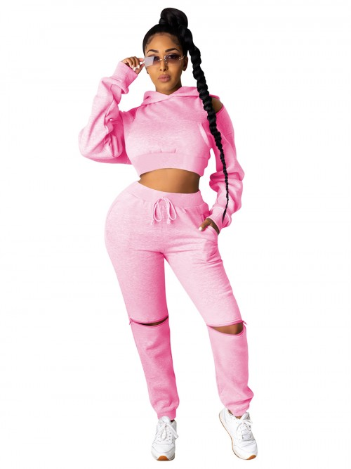 Pink Cropped Sweatshirt High Wasit Pocket Pants Womens Latest Clothes