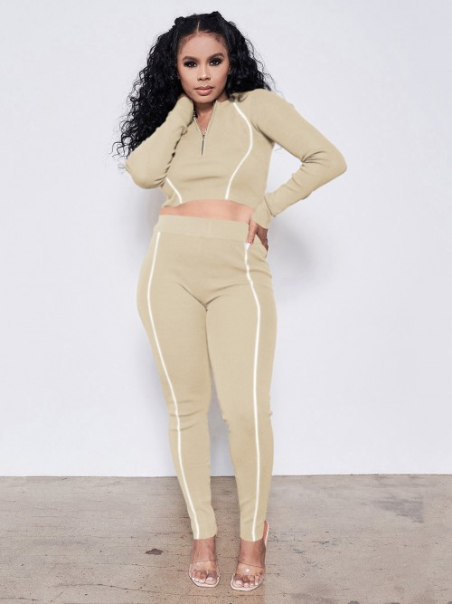 Beige Long Sleeve Reflective Two Piece Outfits Casual Clothing