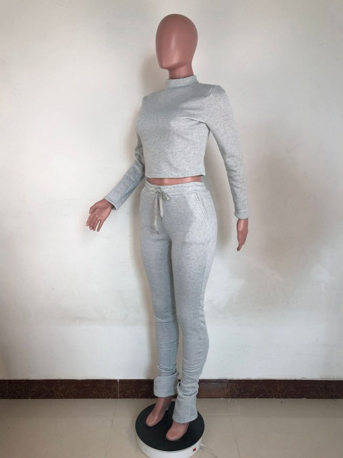 Gray Mock Neck Two Piece Outfit Solid Color Casual Comfort