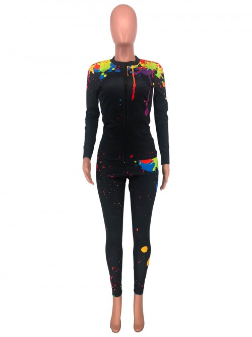 Black Full Length With Zipper Women Suit Cheap Fashion Style