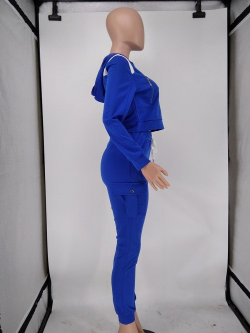 Blue Hood High Waist Zipper Two Piece Outfit Super Faddish