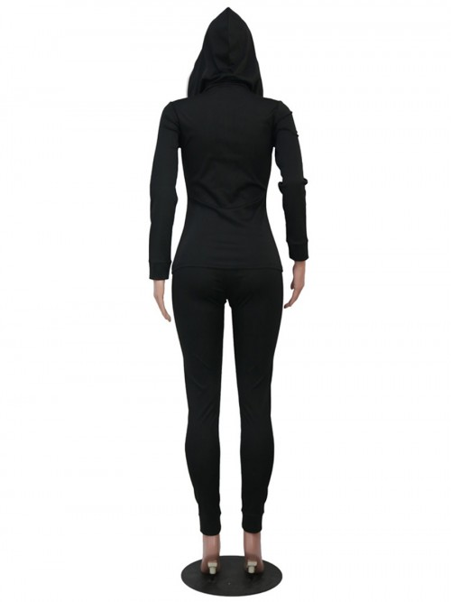 Black Hooded Neck Full Sleeve Two-Piece Outfit Street Style