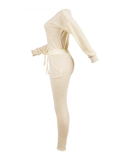 Ultimate Fashion Creamy-White High Rise Two-Piece Oblique Shoulder