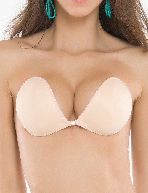 Classy Deep V Neck Skin Front Closure Silicone Invisible Bra For Woman