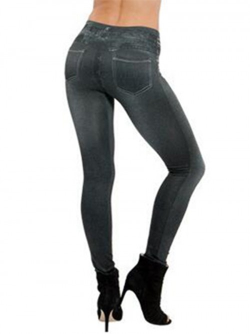 High Waist Jeans-Like Legging Fake Pocket