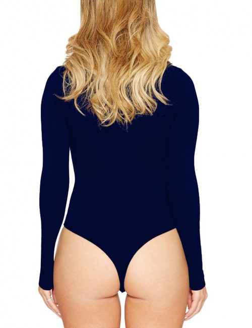 Kinetic Dark Blue Full Sleeved Queen Size Bodysuit Crotch Button Cheap Fashion Style