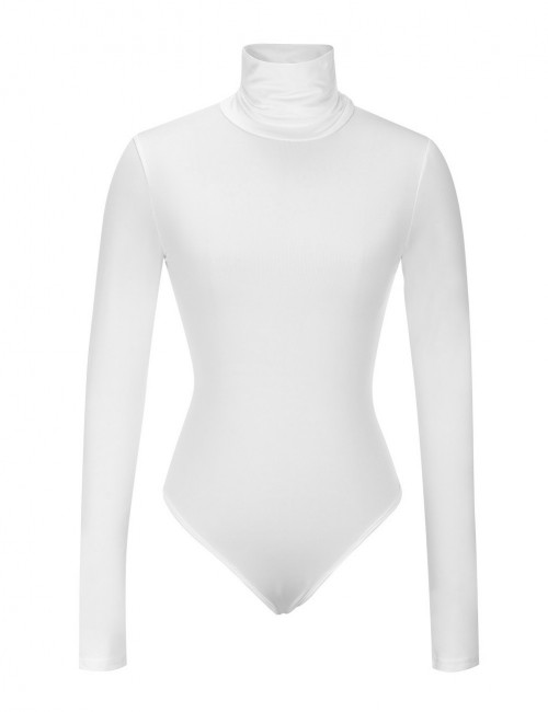 Fetching White Full Sleeved Snap Button Closure Bodysuit Sheath