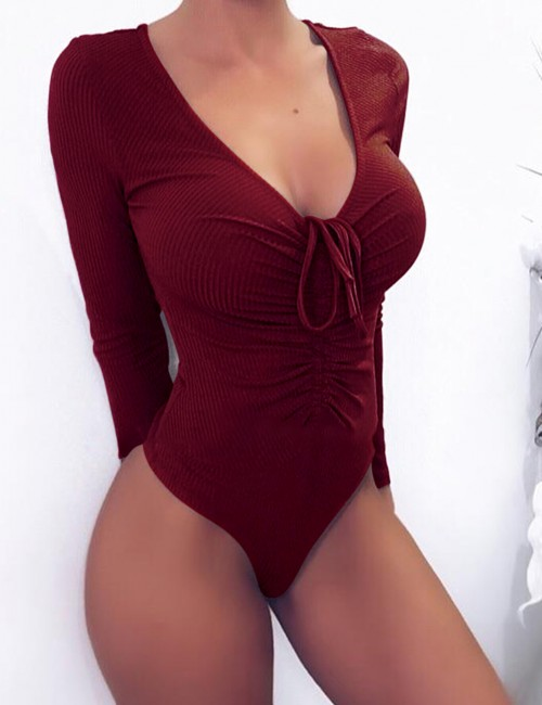 Attractive Wine Red High Cut Plain Bodysuit Long Sleeves For Traveling