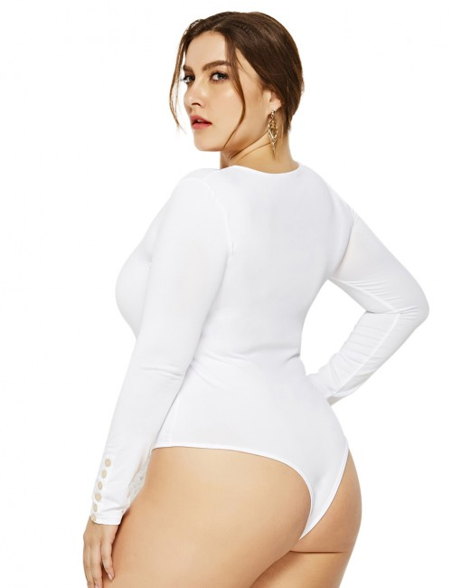Brightly White Bodysuit Cuff Button Decor Plus Size Zipper High Quality