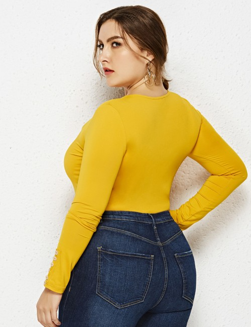 Catching Yellow Sculpting Bodysuit Long Sleeved Big Size Plain Stretch
