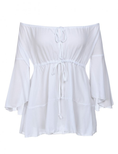 Dainty White Feminine Grace Bell Long Sleeve Tops Two Ways