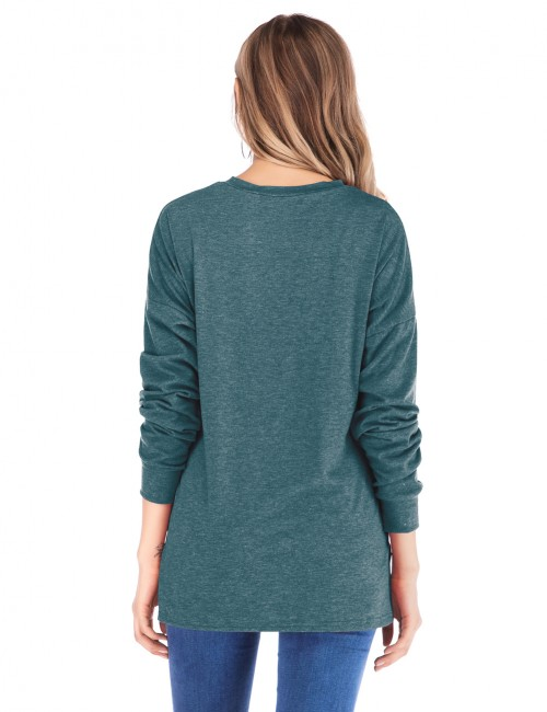 Cutie Green Full-Sleeved Tops Buttons Bat Sleeves Womens Fashion Online