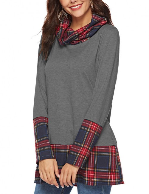 Astonishing Light Grey Grid Printing Top Stitch High Collar Women Apparel