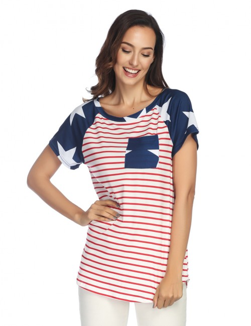 Dreaming Striped Colorblock Womens Tees Short Sleeves