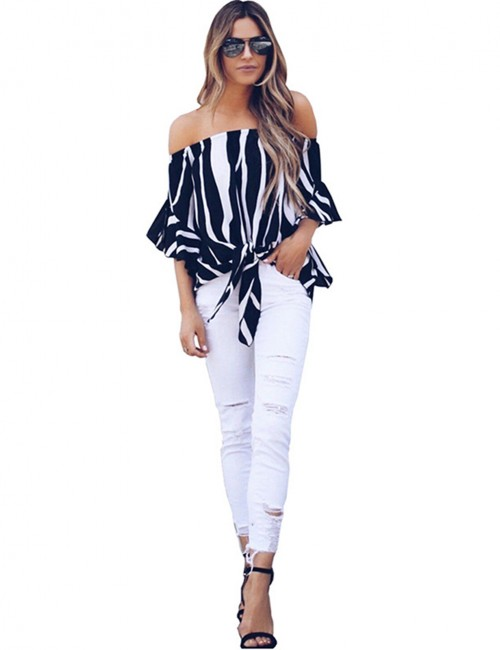 Black Soft Off Shoulder Shirts Bell Sleeves Holiday Style