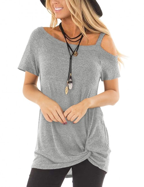 Functional Light Grey Short Sleeves Tops Pure Color Comfort Fit