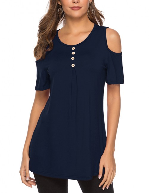 Premium Navy Blue Ruched Oversize Blouse Bare Shoulder Latest Styles