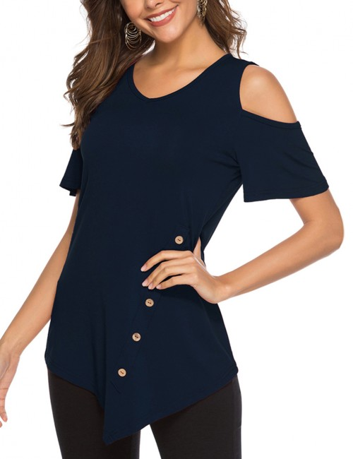 Professional Navy Blue Irregular Round Neck Blouse Cold Shoulder Fast Shipping