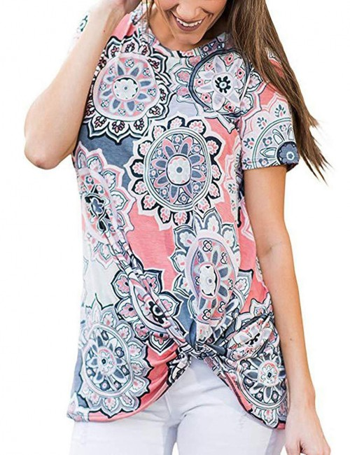 Dynamic Twist Floral Short Sleeves Top For Women
