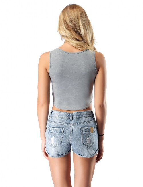 Entrancing Grey Bamboo Stretch Cropped Top No Sleeves