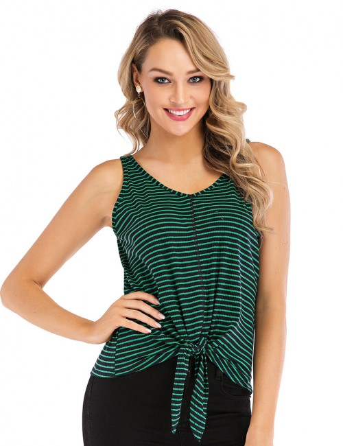 Classic Dark Green Front Knot Ribbed Sleeveless Top V Neck For Walking