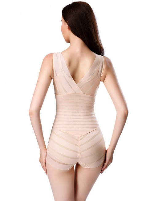 Stylish Apricot Queen Size Bidysuits Mesh Crotch Hooks Curve Shaping