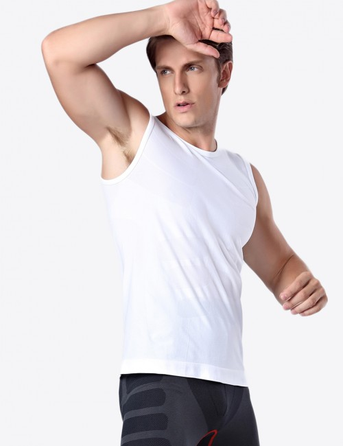 Ultra-Thin White Quick Drying Mens Vest Shaper Weight Loss