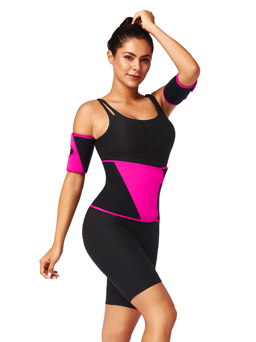 Rose Red Neoprene 2 Pieces Arm Shapers Patchwork For Workout