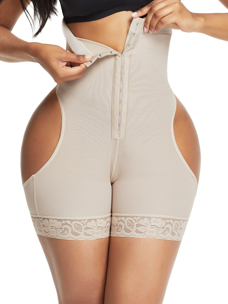 Skin Color Front Hooks Open Butt Booty Lifter Tummy Control