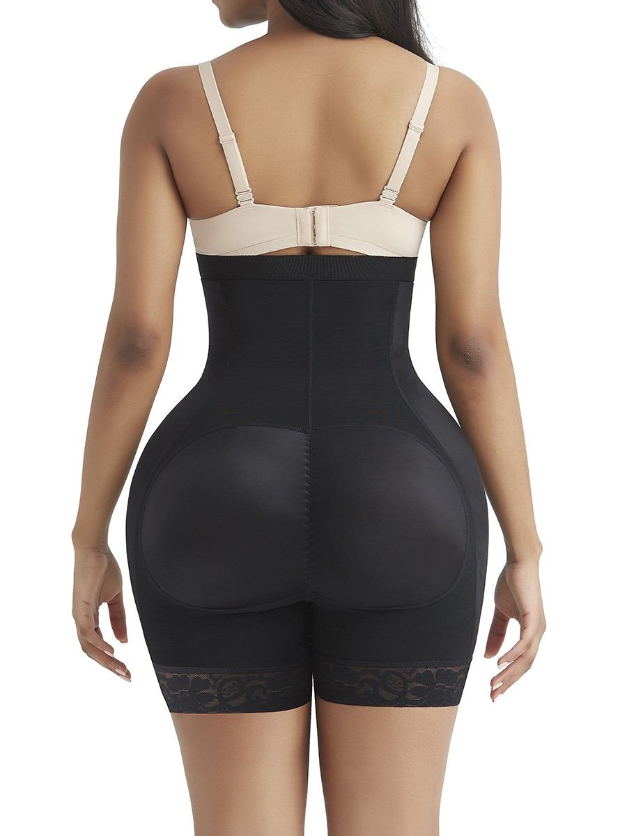Black High Waist Hooks Control Shorts With Pad Curve Smoothing