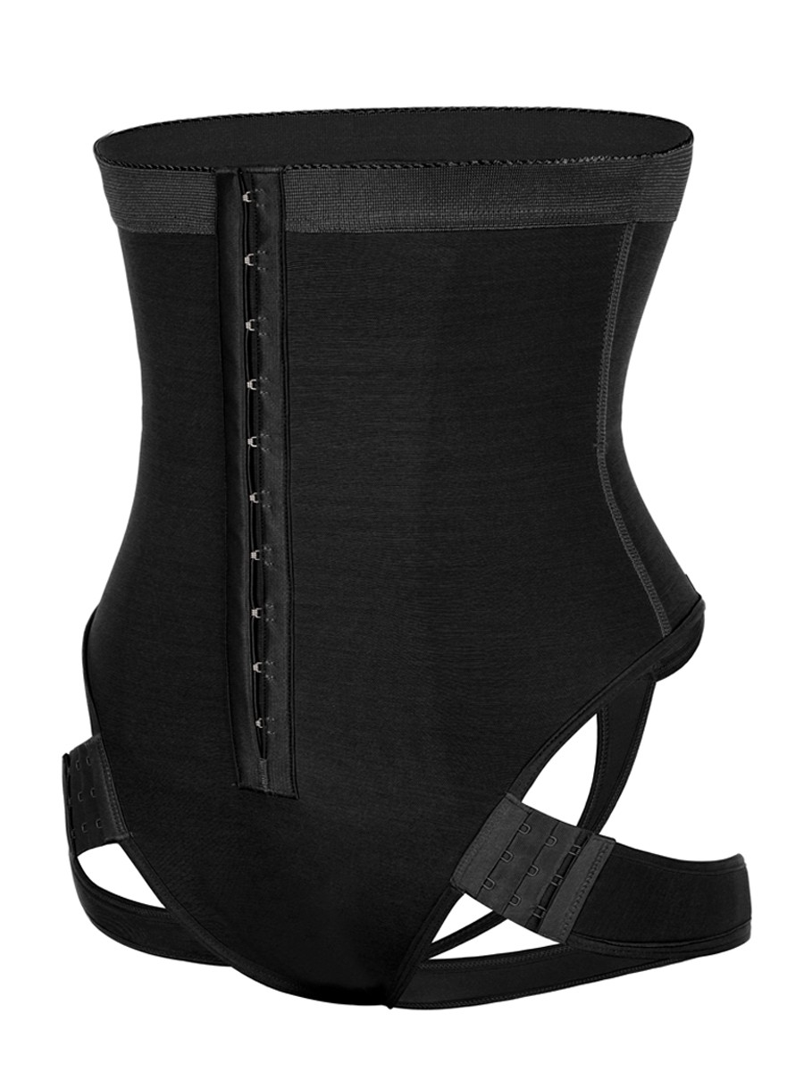 Black High Waist Butt Lifter With 2 Side Straps Abdominal Control