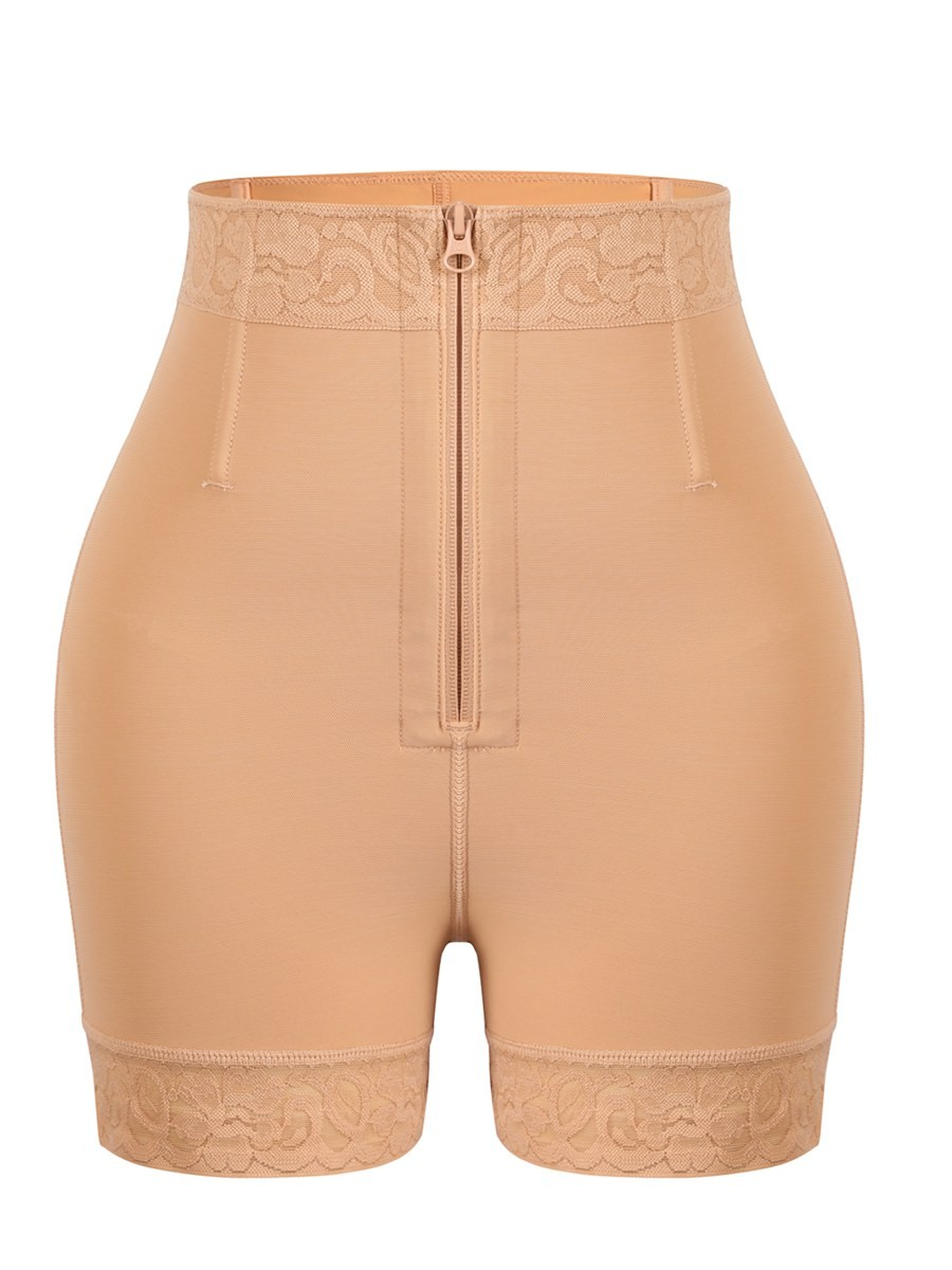 Deep Nude Butt Lifter With Front Zippet Lace Trim Smoothlines