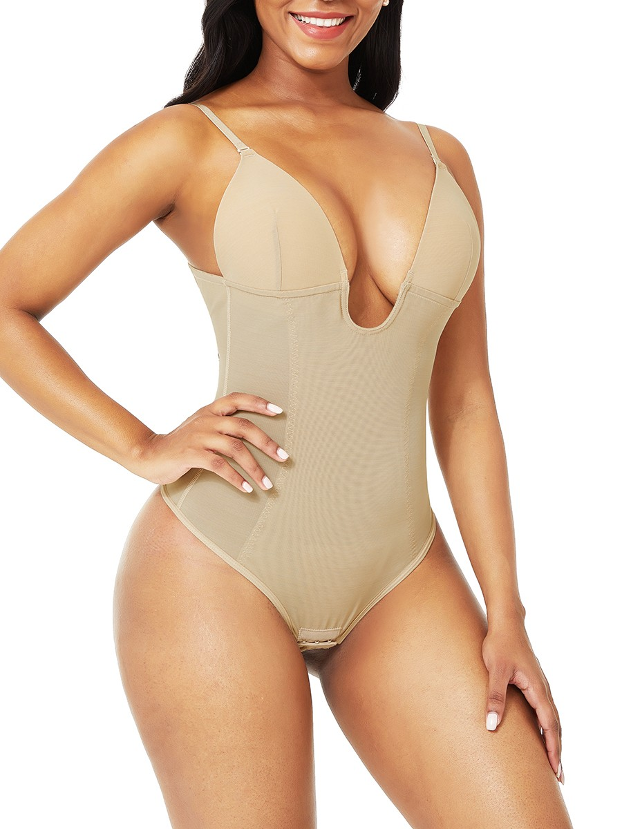 Nude Plus Size Low-Back Thong Body Shaper Abdominal Slimmer