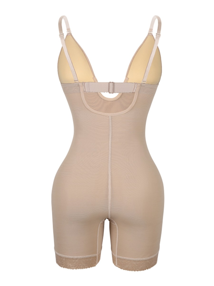 Skin Color Low Back Open Crotch Lace Body Shaper Highest Compression