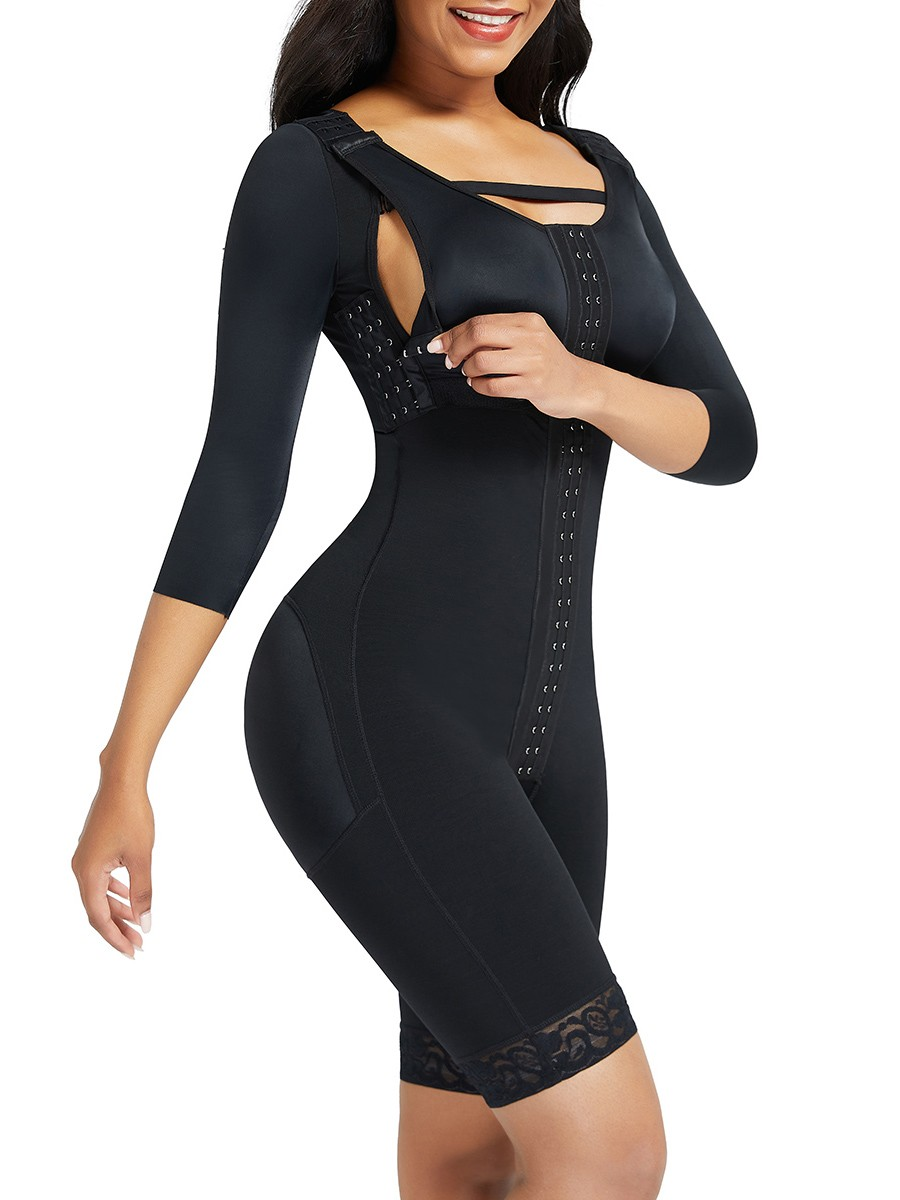 Black Lace Trim Hourglass Body Shaper With Sleeves Medium Control