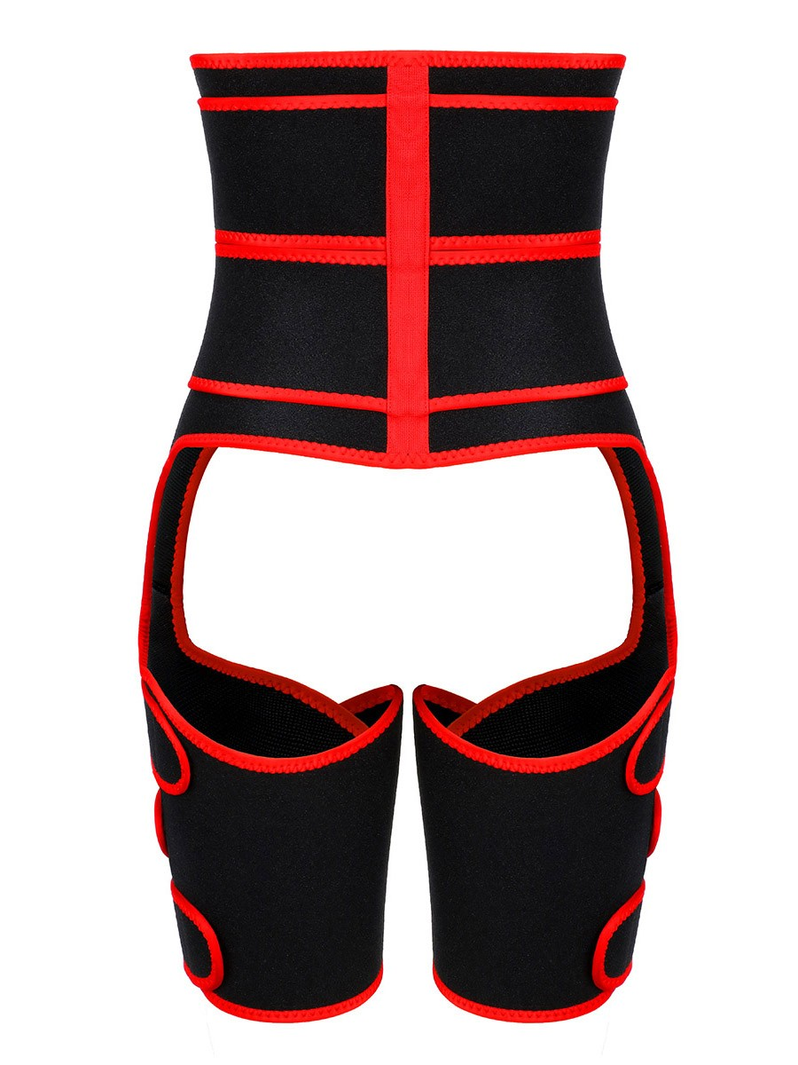 Curve-Creating Red 2-In-1 Double Strap Waist And Thigh Trainers