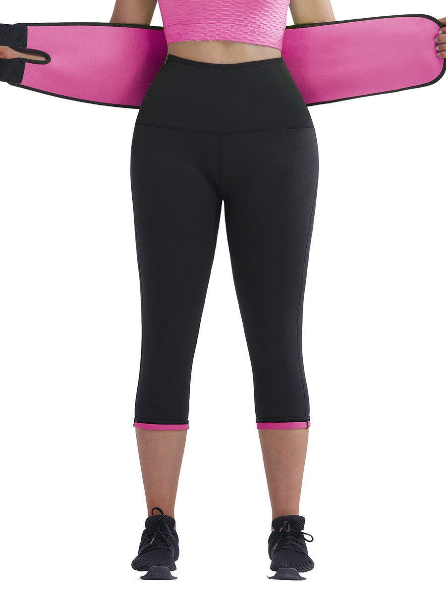 3/4 Length Rose Red Tummy Control Body Shaper Pants