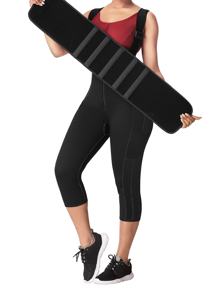 Firm Control Black Neoprene Waist And Thigh Trainer Body Shaper