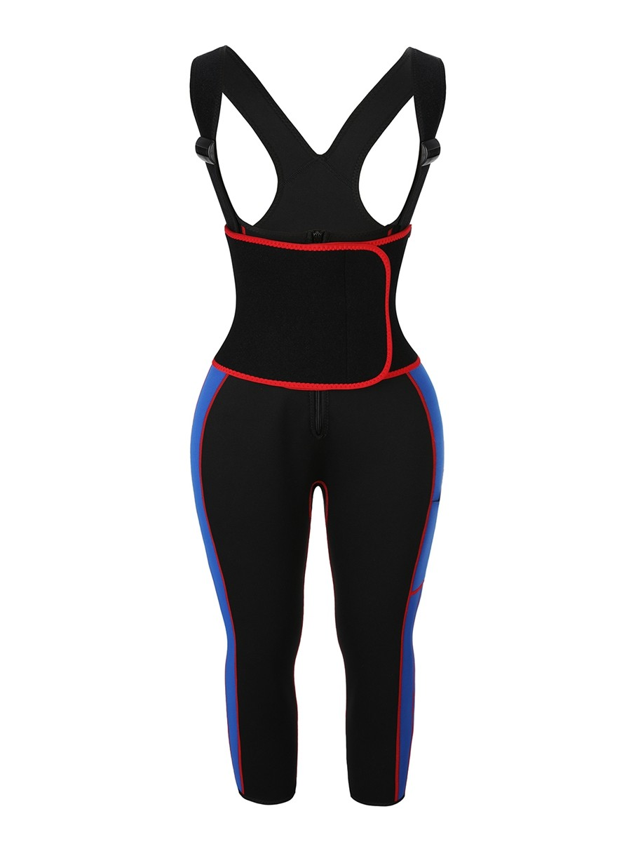 Blue Neoprene Body Shaper With Adjustable Straps Calories Burning