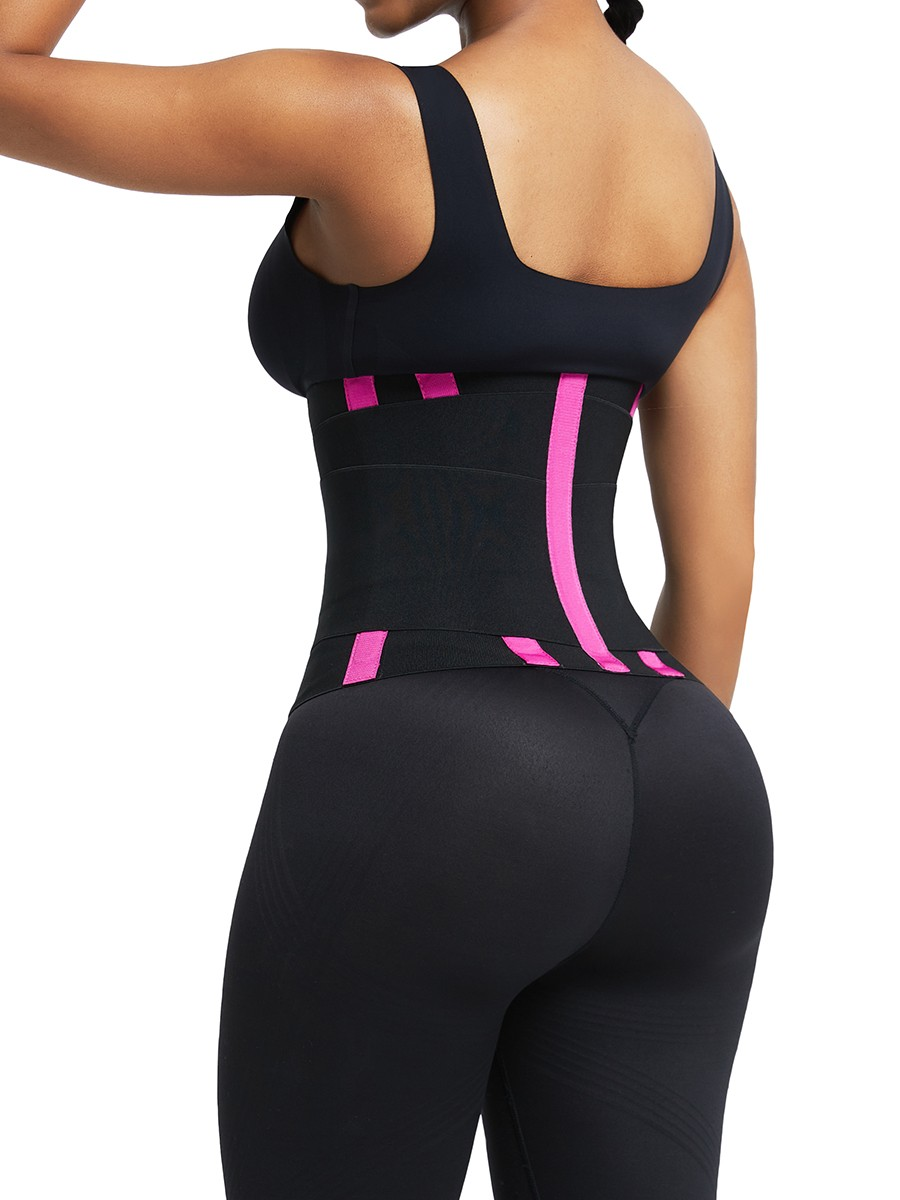 Rose Red Contrast Color Plus Waist Trainer With Straps Custom Logo