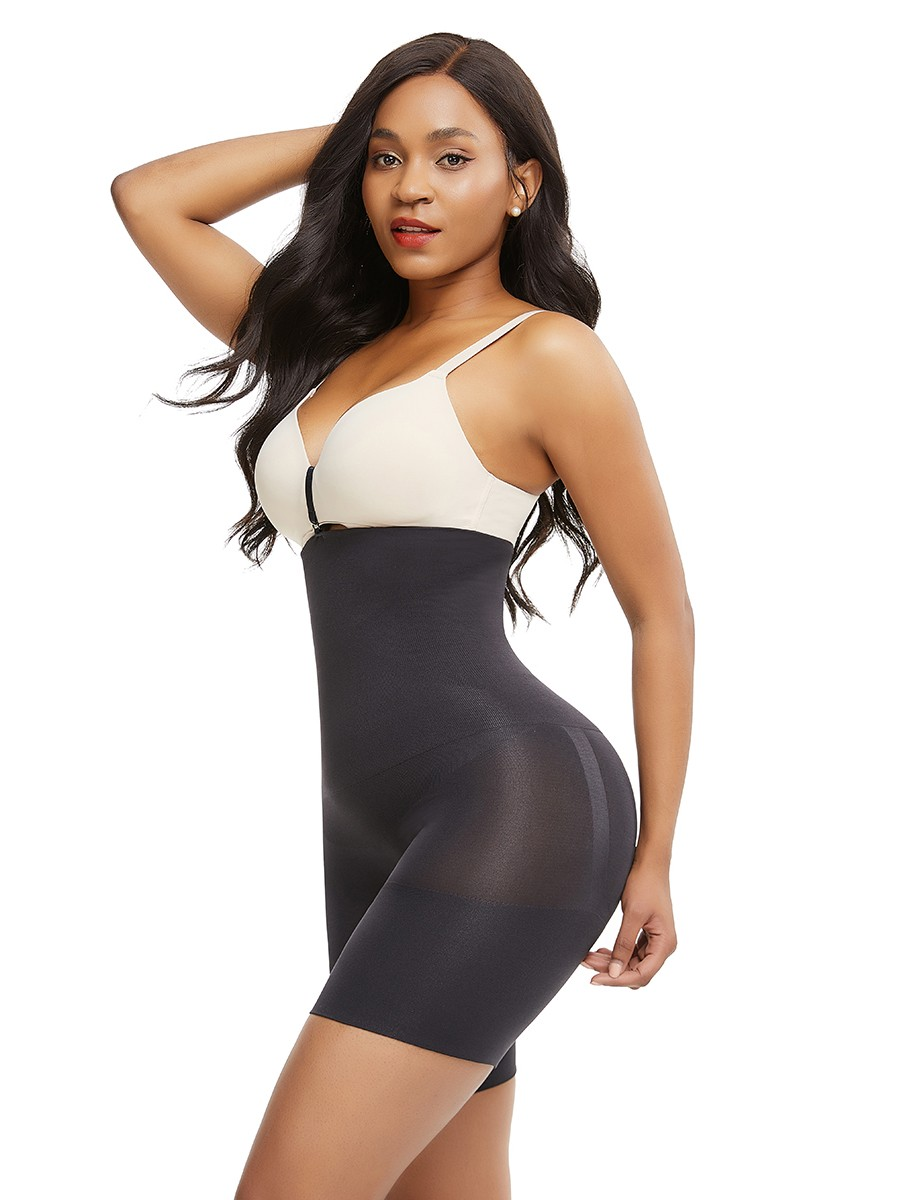 Black Under Bust Seamless Shapewear Shorts With Buckle Sheer Mesh