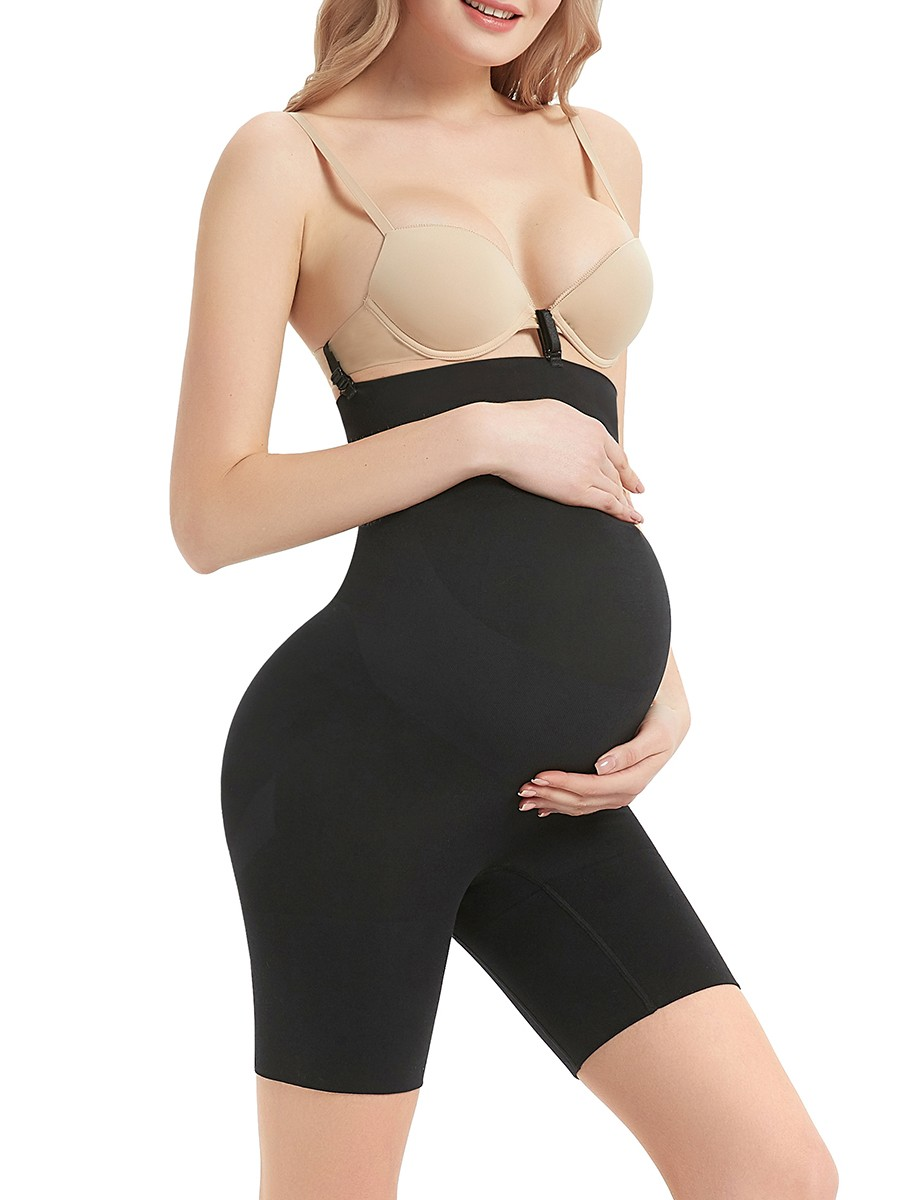Ultra Chic Black Seamless Solid Color Maternity Panty Curve Smoothing