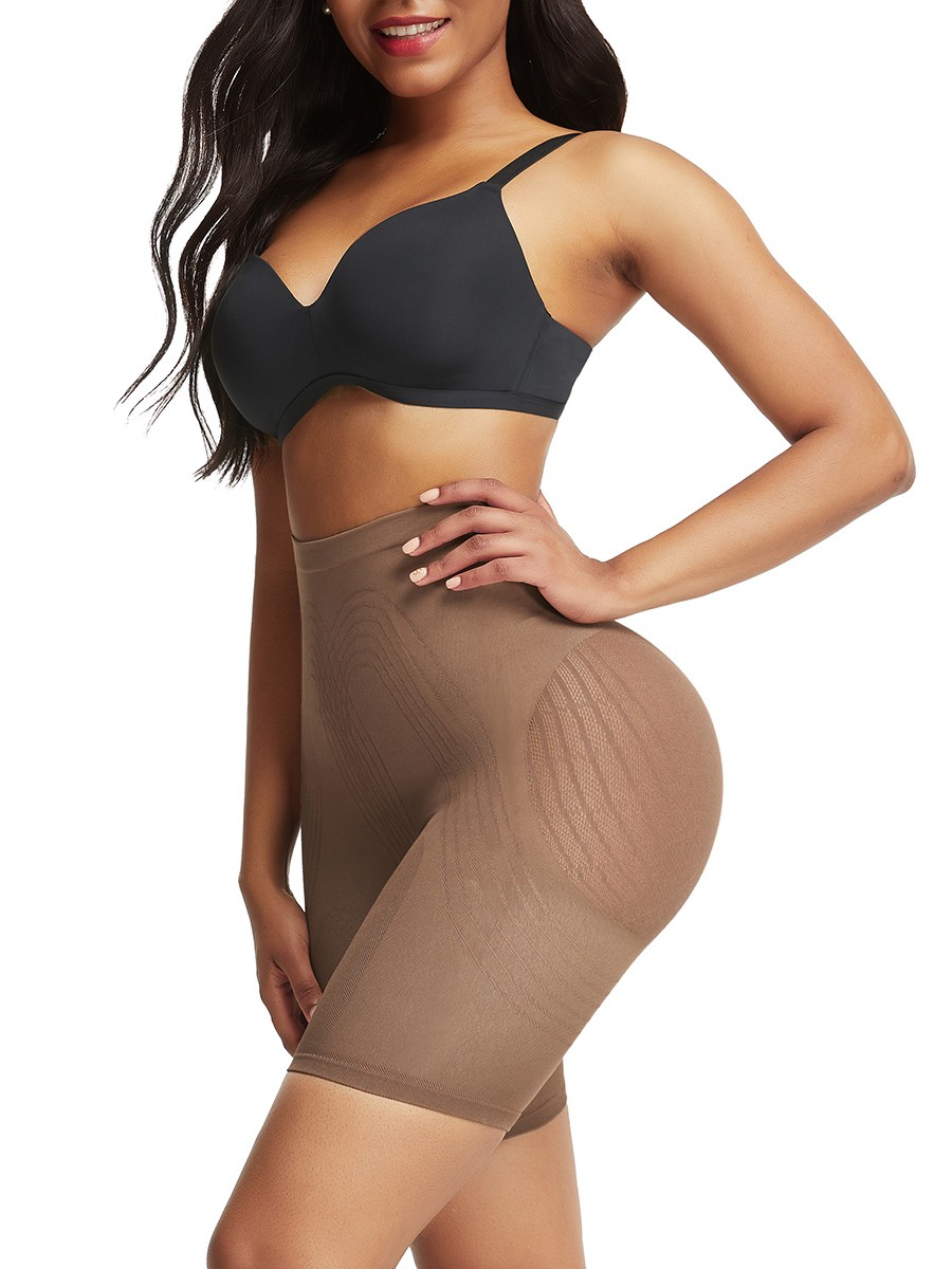 Light Coffee Color Seamless Shapewear Shorts Mesh Solid Color